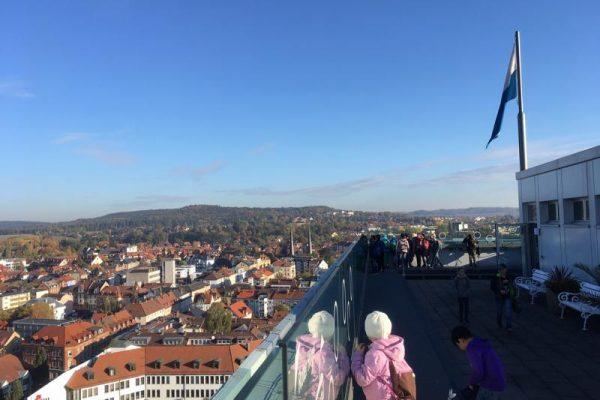Wunderbare Sicht vom Rathaus auf die Stadt Bayreuth