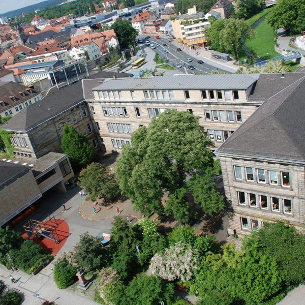 Luftbild der Graserschule und dessen Schulhof
